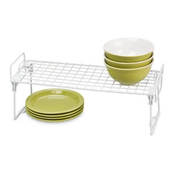 Set Of 2 - Kitchen Organizer Rack- 18X7In - Honey-Can-Do KCHZ01870 Set of 2 Lock and Link Stackable Cabinet Shelf, White.  The slim, space-saving design is great for creating extra storage space in cabinets, pantries, or closets.  Made with a durable steel frame and PE coating, it's sturdy, easy to clean, and will last for years.