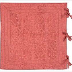 Hanna Wholecloth Quilted Sham, Euro, Desert Rose - Our whole-cloth Hanna Quilt and Sham are woven of an irresistible blend of linen and cotton.Linen-cotton.100% cotton batting.Hand quilted in a double-diamond pattern.Quilted sham is trimmed with piping and has a tie closure; insert sold separately.Machine wash.Watch a video on {{link path='/stylehouse/videos/videos/pbq_v10_rel.html?cm_sp=Video_PIP-_-PBQUALITY-_-QUILTS_AMERICAN_ART' class='popup' width='950' height='300'}}quilting as an American art form{{/link}}.Catalog / Internet Only.Imported.