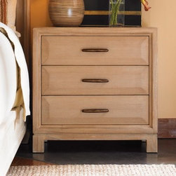 Tommy Bahama by Lexington Home Brands Road to Canberra Ashmore 3 Drawer Nightsta - Organize everything you need for your nightly routine in the rustic Ashmore 3 Drawer Nightstand. Made of quartered ash and Mindi veneers with grains, each drawer includes a bar pull that features a rustic bronze finish. Standing on four sturdy legs, this nightstand provides better stability and elevation. Ideal for any type of bedroom.About Lexington Home BrandsFounded in 1903 in High Point, NC, Lexington Home Brands has become a globally known manufacturer and marketer of unique home furnishings. They are an industry leader in design, style, and quality products. Their product line consists of upholstered and hardwood furniture under recognized brands such as Lexington, Tommy Bahama, Sligh, and Henry Link Trading Co.. Lexington Home Brand's intentions and aspirations are to create exclusive designs and styles that accommodate the traditional, contemporary, casual, and formal decors of their customers' homes.