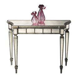 Butler - Sofa Table - Graceful curves and antique mirror top. Apron and legs with contrasting pewter finished trim. Made form hardwood solids and wood. Mirror finish. 40 in. W x 14 in. D x 32 in. H (36 lbs.)This beautiful console table will make a dramatic statement in the foyer or other living space.
