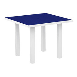 PolyWood - Euro 36 in. Square Dining Table by Polywood, White/Pacific Blue - Sophisticated enough for fine dining but casual enough to be comfortable in your outdoor entertaining space��_that��s what makes the Polywood�� Euro 36�� Square Dining Table ideal for intimate dinners. This table is high on style and low on maintenance, as it resists nature��s elements, stains, corrosive substances, insects, fungi, salt spray and other environmental stresses. It��s made in the USA with a sturdy aluminum frame and eco-friendly, fade-resistant  Polywood�� recycled lumber slats that look like painted wood without the upkeep real wood requires. And it��s backed by a 20-year warranty so that means you don��t have to worry about it splintering, cracking, chipping, peeling or rotting and it will never need to be painted, stained or waterproofed.  Ships within 10 Business Days
