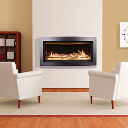 Slayton 42 contemporary fireplace by Kozy Heat - The extra-wide Slayton 42™ fireplace by Kozy Heat® is powered by natural gas or propane, is direct vent for the most natural-looking flame available in a gas fireplace, and its exceptionally high efficiency and 42,000 BTU output means that it will warm your home as well as brighten it!
