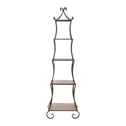 Safavieh - Jiles Etagere - A whimsical piece inspired by a French topiary trellis, the Jiles Etagere lends a sunny garden air to the dining room, kitchen or living room. Crafted of fir wood shelves and peter frame, it's ideal for storing pieces and china, as well as books and curios.