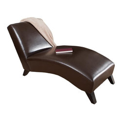 Best Selling Home - Charlotte Chaise Lounge in Neutral Brown Fini - Elegantly soft bonded leather. Neutral Brown allows for universal use. Espresso Brown stained wood legs . Softly padded from top to bottom . Sturdy hardwood frame. Suits in living room, bedroom or salon . Minimal assembly required. 30-Day manufacturer's warranty. 60.43 in. L x 26.77 in. W x 32.48 in. HRecline on your very own Charlotte Chaise Lounge Chair and experience the most comfortable piece of furniture a room could ever have. Whether you sit straight up, lay down, or anything in between, you'll be gently caressed by the bonded leather below.