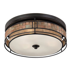 Quoizel - Quoizel QZ-MCLG1616RC Laguna Outdoor Flush Fixture - This mica piece is an addition to the Quoizel Naturals collection and features a mosaic tile stripe, which appears to be floating around a taupe mica shade. The tiles have a coppery shimmer for an added touch of elegance.    It provides a warm and inviting accent for most any home.