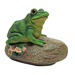 EttansPalace - Frog Garden Rock Sitting Toad Statue - From The Acorn Hollow Garden Statuary Collection; Even if you cant hear him croak, this Thurston the frog sculpture is large enough to spot from a distance! Add playful ambiance to your garden or pond with this delightful, garden frog statue. Cast in quality designer resin to capture details including his brightly bulging eyes, then hand-painted in garden-bright hues, our toad statue is an easy garden and pond focal point. Another quality amphibian animal statue from.