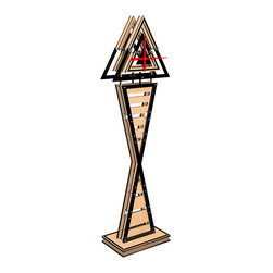 EllingWoods Design - Modern Geometric Triangle Floor Clock - Wood Slot - Inspired by geometry these modern clocks balance the line between form and function and create a striking element to any home or office.