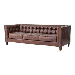 Abbott Distressed Leather Sofa - Inspired by the libraries of turn-of-the-century American aristocracy, timeless elegance and classic design are the hallmarks of Our Abbott 3 Seater vintage leather sofa. Unsurpassed quality and classic design. Built of a hardwood frame and all down feather cushions, each piece is covered in the finest, top-grain, aniline-dyed leathers and an eight-stage hand-aging process that epitomizes quality craftsmanship.