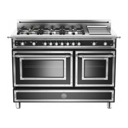 "Bertazzoni - Heritage HER486GGASNELP 48"" Liquid Propane Range With 6 Brass Burners  18 000 BT - The Bertazzoni Heritage Series fulfills its traditional appeal with bright hrome finishes combined with brushed steel trims The worktop handle and range knobs are solid metal Bertazzoni colors are applied in a fully durable double layer coating on st..."