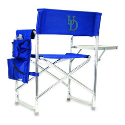 """Picnic Time - University of Delaware Sports Chair in Navy - The Sports Chair by Picnic Time is the ultimate spectator chair! It's a lightweight, portable folding chair with a sturdy aluminum frame that has an adjustable shoulder strap for easy carrying. If you prefer not to use the shoulder strap, the chair also has two sturdy webbing handles that come into view when the chair is folded. The extra-wide seat (19.5"""") is made of durable 600D polyester with padding for extra comfort. The armrests are also padded for optimal comfort. On the side of the chair is a 600D polyester accessories panel that includes a variety of pockets to hold such items as your cell phone, sunglasses, magazines, or a scorekeeper's pad. It also includes an insulated bottled beverage pouch and a zippered security pocket to keep valuables out of plain view. A convenient side table folds out to hold food or drinks (up to 10 lbs.). Maximum weight capacity for the chair is 300 lbs. The Sports Chair makes a perfect gift for those who enjoy spectator sports, RVing, and camping.; College Name: University of Delaware; Mascot: BlueHens; Decoration: Embroidered; Includes: 1 detachable polyester armrest caddy with a variety of storage pockets designed to hold the accessories you use most"""