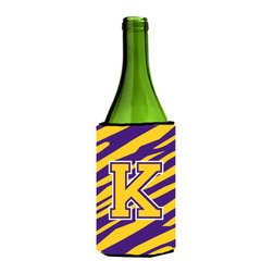 Caroline's Treasures - Monogram - Tiger Stripe - Purple Gold Initial K Wine Bottle Koozie Hugger - Monogram - Tiger Stripe - Purple Gold Letter K Wine Bottle Koozie Hugger CJ1022-KLITERK Fits 750 ml. wine or other beverage bottles. Fits 24 oz. cans or pint bottles. Great collapsible koozie for large cans of beer, Energy Drinks or large Iced Tea beverages. Great to keep track of your beverage and add a bit of flair to a gathering. Wash the hugger in your washing machine. Design will not come off.