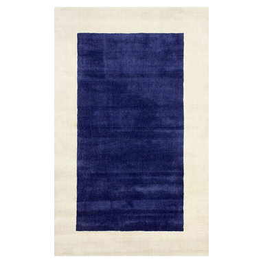 nuLOOM - Contemporary Solid & Striped 5' x 8' Blue Hand Loomed Area Rug Solid Border - Made from the finest materials in the world and with the uttermost care, our rugs are a great addition to your home.