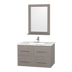 "Wyndham Collection - Wyndham Collection 36"" Centra Grey Oak Single Vanity w/ Square Porcelain Sink - Simplicity and elegance combine in the perfect lines of the Centra vanity by the Wyndham Collection. If cutting-edge contemporary design is your style then the Centra vanity is for you - modern, chic and built to last a lifetime. Available with green glass, pure white man-made stone, ivory marble or white carrera marble counters, and featuring soft close door hinges and drawer glides, you'll never hear a noisy door again! The Centra comes with porcelain sinks and matching mirrors. Meticulously finished with brushed chrome hardware, the attention to detail on this beautiful vanity is second to none."