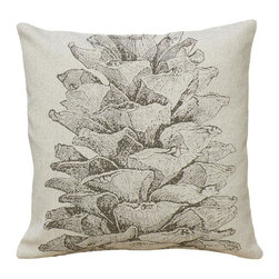 123 Creations - Pinecone, Hand-printed Linen Pillow - Hand-printed on unbleached linen fabric. Feather-down insert with zipper closure. Machine wash cold with like colors, no bleach, tumble dry low.