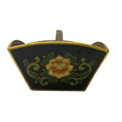 Golden Lotus - Chinese Black Flowers Wood Square Handle Bucket - This is a large size oriental rice measure bucket painted with black and color flower pattern.