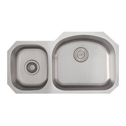 """TCS Home Supplies - 32 Inch Stainless Steel Undermount 40/60 Double D-Bowl Offset Kitchen Sink - Premium 16 Gauge Stainless Steel Kitchen Sink. 40/60 Offset Double Bowl. Undermount Installation. Brushed Stainless Steel Finish. Dimensions 32"""" x 17-3/4"""" x 7"""" 