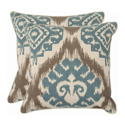 Safavieh Home Furniture - Josh 22-Inch Powder Blue Decorative Pillows Set of 2 - -Renaissance and tribal cultural influences merge in a stunning European-style damask pattern uniquely designed using an ancient ikat tribal symbol in powder blue and taupe against a ground of �cotton and linen blend.  - Please note this item has a 30-day manufacturer's limited warranty that covers product defects. Inspect your purchase upon delivery and notify us immediately with any concerns. Safavieh Home Furniture - PIL839B-2222-SET2