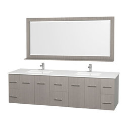 Wyndham - Centra Vanity 80in. in Grey Oak w/ White Stone Top & Square sinks - Simplicity and elegance combine in the perfect lines of the Centra vanity by the Wyndham Collection. If cutting-edge contemporary design is your style then the Centra vanity is for you - modern, chic and built to last a lifetime. Available with green glass, white carrera marble or pure white man-made stone counters, and featuring soft close door hinges and drawer glides, you'll never hear a noisy door again! The Centra comes with porcelain, marble or granite sinks and matching mirrors. Meticulously finished with brushed chrome hardware, the attention to detail on this beautiful vanity is second to none.