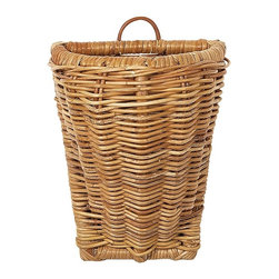 Eco Displayware - Small French Rattan Wall Basket in Natural - Great for closet, bath, pantry, office or toy and game storage. Earth friendly. 10 in. L x 7.5 in. W x 13.5 in. H (3.68 lbs.)These natural colored baskets add warmth and charm and keep you organized.