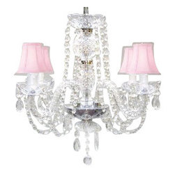 The Gallery - All Crystal Chandelier with Pink Shades - Surrender to your fabulous side with this incomparable crystal chandelier. It brings dazzle and drama to your favorite formal setting, then tops itself with blush-pink fluted shades.