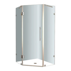 """Aston - Aston Neoscape 38x38, 72, Completely Frameless Neo-Angle Shower, Chrome - Add a desirable contemporary style to your corner shower allotment with the Neoscape completely frameless neo-angle shower enclosure. Available in a variety of width / length models - from 32"""" to 42"""" - the Neoscape will instantly upgrade your bath."""