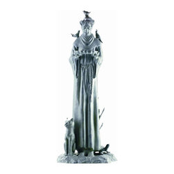 SPI - Cast Aluminum Williamsburg St. Francis Garden Statue - Saint Francis of Assisi (born Giovanni Francesco Bernardone 1181-1226) was a Catholic deacon and the founder of the Order of Friars Minor, more commonly known as the Franciscans. He is known as the patron saint of animals, the environment and Italy, and it is customary for Catholic churches to hold ceremonies honoring animals around his feast day of October 4th. This beautiful, hand painted statue features St. Francis with a number of his animal friends. Made of cast aluminum, the statue stands 30 inches tall, 12 1/2 inches wide and 11 inches deep. It makes a great gift for animal lovers.
