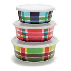 Multiplaid Storage Container Set - Take plaid on the go with these fabulously fun lidded containers.