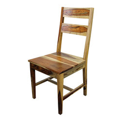 2 Panel Dining Chair In Clear Finish - The perfect chair to compliment any one of our Spanish Colonial dining tables with a CLEAR finish. This is the real wood color. Check out the varied grain patterns! Chairs are sold in pairs Only. Price is per chair. Dimensions: 18. 5'' l x 40'' h x 18'' w