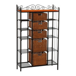 """Holly & Martin - Holly & Martin Rancho 5-Drawer Baker's Rack X-10-5-600-991-95 - Elegant and beautiful, this five-drawer kitchen rack will help with storage, display and organization all in one. Two large lower brown stained rattan baskets and three smaller upper baskets function as removable drawers while ten open wire shelves on the sides provide versatility. Decorative scrollwork laces the top for a classic touch.    - 31.5"""" W x 12.75"""" D x 52"""" H                                                                            - Black powder coat finish                                                                              - Top baskets: 11"""" W x 11"""" D x 5"""" H (each)                                                              - Bottom baskets: 11"""" W x 11"""" D x 8"""" H (each)                                                           - Top 6 Shelves: 8"""" W x 12"""" D x 6.5"""" H (each)                                                           - Lower 4 Shelves: 8"""" W x 12"""" D x 10"""" H (each)                                                          - Top: 30"""" W x 12"""" D                                                                                    - Durable metal construction                                                                            - Assembly required"""