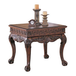 "Coaster - End Table (Dark Brown) By Coaster - Traditional style. Square table top. Straight edges and carved trim. Leafy shaped geometric apron carved apron. Flower medallion at each corner. Ball and claw feet. Intricate detailing throughout. Medium brown finish. 30 "" W x 30 "" D x 27 "" H.  This lovely end table will be a nice addition to your traditional living room. Add your own lamp, framed pictures, and other decorative items to create a personal look in your traditional living room."