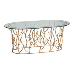 Kathy Kuo Home - Alden Iron Polished Glass Gold Leaf Coffee Table - Let a bit of the outside world inside your home with this nature-inspired, yet very fashionable, cocktail table. Gleaming gold leaf branches curve up from the open base to support a polished glass oval top, giving this table an almost ethereal quality. A wonderful modern piece, and with its airy construction, perfect for small contemporary spaces.