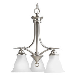 Progress Lighting - Progress Lighting P4324-09 3-Light Chandelier with Etched Glass Shades - Progress Lighting P4324-09 3-Light Chandelier with Etched Glass Shades