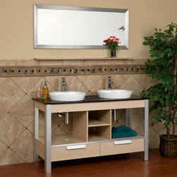 "55"" Sadira Double Sink Console Vanity with Mirror - Complete your mater bathroom with this beautiful contemporary vanity cabinet. Featuring two semi-recessed porcelain sinks as well as concealed and open storage, this deluxe console vanity is designed for everyday use."
