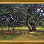 """Claude Oscar Monet-18""""x24"""" Framed Canvas - 18"""" x 24"""" Claude Oscar Monet Fontainebleau Forest framed premium canvas print reproduced to meet museum quality standards. Our museum quality canvas prints are produced using high-precision print technology for a more accurate reproduction printed on high quality canvas with fade-resistant, archival inks. Our progressive business model allows us to offer works of art to you at the best wholesale pricing, significantly less than art gallery prices, affordable to all. This artwork is hand stretched onto wooden stretcher bars, then mounted into our 3"""" wide gold finish frame with black panel by one of our expert framers. Our framed canvas print comes with hardware, ready to hang on your wall.  We present a comprehensive collection of exceptional canvas art reproductions by Claude Oscar Monet."""
