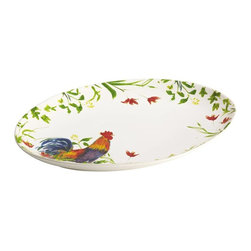 BonJour - BonJour Dinnerware Meadow Rooster Oval Platter Multicolor - 50176 - Shop for Plates and Dishes from Hayneedle.com! Your favorite dishes look even more tasty when you re serving them on the BonJour Dinnerware Meadow Rooster Oval Platter. It s all thanks to the wonderfully colorful rooster and wildflower motif which is inspired by French Country design and looks especially elegant against the eggshell-finished background. The platter is crafted of durable stoneware that s microwave freezer and dishwasher safe not to mention safe in the oven up to 250F degrees for up to 30 minutes. Use to serve meat veggies and other main dishes and for the complete look don t forget to check out other pieces in BonJour s Meadow Rooster collection.About Meyer CorporationMeyer Corporation U.S. based in Vallejo Calif. has been one of the fastest-growing cookware companies in the United States and is now the largest distributor of range-top cookware in the country. Meyer Corporation specializes in the distribution of metal cookware and other kitchen products. The cookware is made by Meyer Corporation's own affiliate factories throughout the world; offering different brands enables the company to distribute different levels of cookware. Meyer Corporation's focus is on developing high-quality top-performing cookware using cutting-edge technology and designs. The company offers cookware made from stainless steel hard-anodized aluminum and non-stick aluminum.