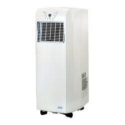 New Air - Ultra Compact 10000 BTU Portable Air Conditio - Self evaporative cooling. Cools 325 sq. ft.. R-410a refrigerant. 2 fan speed settings. Convenient 1-12 hour timer. Adjustable louvers. Air filtering system. Remote control. . 10,000 BTUs. . 30 in. L x 15 in. W x 12 in. H (48.4 lbs)The NewAir AC-10100E ultra compact portable air conditioner offers a 10,000 BTU blast of cooling power. Capable of cooling rooms up to 325 square feet, this room air conditioner is easy to install and fully portable, making it easy to move  wherever you need cooling comfort.