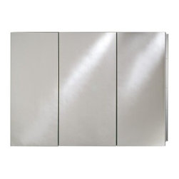 Afina Broadway Surface Mount Triple Door Medicine Cabinet - 36W x 4D x 30H in. - The Afina Broadway Surface Mount Triple Door Medicine Cabinet - 36W x 4D x 30H in. is a true powerhouse of a cabinet. This piece is made from satin anodized aluminum for a rust-resistant shine and sturdy body construction. This cabinet's three doors are mirrored and rest upon concealed European hinges keeping this piece nice and sleek. It features beveled edge mirrored doors on the outside. Inside you'll find a mirrored inside door and inside back and best of all nine adjustable glass shelves capable of housing every small bathroom item you can think of. Fabulous. This piece may be recess or surface mounted. This cabinet measures 36W x 4D x 30H inches. The approximate wall opening dimensions are 35.375W x 4D x 29.375H inches. About AfinaAfina Corporation is a manufacturer and importer of fine bath cabinetry lighting fixtures and decorative wall mirrors. Afina products are available in an extensive palette of colors and decorative styles to reflect the trends of a new millennium. Based in Paterson N.J. Afina is committed to providing fine products that will be an integral part of your unique bath environment.