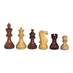 Sheesham American Emperor Chess Pieces - Double Weighted - It's dark grain versus light in the Sheesam American Emperor Chess Pieces - Double Weighted. The wooden pieces come in a sheesam and natural boxwood finish and boast the classic Staunton style. Every piece from this traditional collection has been double weighted for superior balance and would make a magnificent addition to your table.About WorldWise Imports:Specializing in retail and online merchants, Worldwise Import founder Cheryl Stern has assembled a team that has the experience necessary to import the very best international products. Since 2001, the team has traveled the world to find and supply the finest in chess, backgammon, cribbage, and other traditional games, as well as some exotic and not so traditional games. Worldwise Imports' commitment to excellence has helped it become a leader in world import markets.