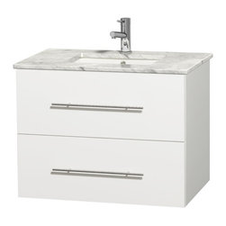 "Wyndham Collection - Centra 30"" Single Vanity in White, Countertop, Undermount Square Sink, No Mirror - Simplicity and elegance combine in the perfect lines of the Centra vanity by the Wyndham Collection. If cutting-edge contemporary design is your style then the Centra vanity is for you - modern, chic and built to last a lifetime. Available with green glass, pure white man-made stone, ivory marble or white carrera marble counters, with stunning vessel or undermount sink(s) and matching mirror(s). Featuring soft close door hinges, drawer glides, and meticulously finished with brushed chrome hardware. The attention to detail on this beautiful vanity is second to none."