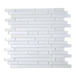 "Tao Super White Glass Tile - Tao Super White Glass Tile This Super White glass creates a sleek and attractive design for any room. The combination of the blend of polished and frosted glass in super white creates a beautiful modern and contemporary back drop. The mesh backing not only simplifies installation, it also allows the tiles to be separated which adds to their design flexibility. Chip Size: 1/2""x Random"" Color: White - our bright white Material: Glass Finish: Polished and Frosted Sold by the Sheet - each sheet measures 12"" x 12"" (1 sq. ft.) Thickness: 8mm Please note each lot will vary from the next."