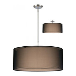 Three Light Brushed Nickel Organza Black Shade Drum Shade Pendant - For those who want a contemporary look with a traditional glow, look no further than this elegant fixture. The inner shade is an opaque oval shade that emanates a soft glow while the outer shade is an oval, black organza shade. This fixture is finished in brushed nickel, and uses telescoping rods to ensure the fixture is hung according to the user's needs. Also included is a removable diffuser, which can be used to soften the light, and this fixture can be installed as a pendant or semi-flush.