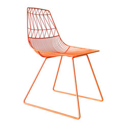 Bend Seating - Lucy Side Chair, Orange - Friends. Rivals. And of course, trendsetters. A dynamic duo by any measure, as design objects these chairs can stand alone but achieve balance together. Lucy is the proverbial zany redhead. A force to be reigned in. Ethel, the voice of reason, is her reliable, stately counterpart. Decide which one you are...or perhaps you are a little bit of both. Hot dipped galvanized iron to prevent rust. Slight assembly required.