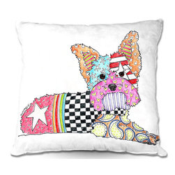 DiaNoche Designs - Pillow Woven Poplin from DiaNoche Designs by Marley Ungaro - Yorkie Dog - Toss this decorative pillow on any bed, sofa or chair, and add personality to your chic and stylish decor. Lay your head against your new art and relax! Made of woven Poly-Poplin.  Includes a cushy supportive pillow insert, zipped inside. Dye Sublimation printing adheres the ink to the material for long life and durability. Double Sided Print, Machine Washable, Product may vary slightly from image.