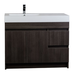 """ConceptBaths - ConceptBaths 39.5"""" Modern Bathroom Vanity Grey Oak Finish RS-L1000-GO - The  39.25' vanity is defined by its grey oak finish, handless cabinet, and clean white resin top with inergrated off-center sink. This beautifully assembled vanity provides large storage area  behind its two doors and two functional drawers. The off-center integrated sink combines with grey oak-finished wood and brushed chrome hardware to complete this bathroom decor."""