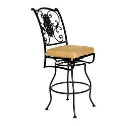O.W. Lee San Cristobal Wrought Iron Swivel Barstool - The O.W. Lee San Cristobal Swivel Barstool embodies the beauty, romance, and intricate detailing of the Spanish Baroque period. Named after the 400-year-old cathedral in Old Havana, the San Cristobal set is made from handcrafted wrought iron, and is a gorgeous addition to your outdoor patio set. Perfect for sitting, relaxing, and enjoying time with friends and family, you'll enjoy having the extra seating so you can invite as many guests as you wish. This swivel barstool comes with your choice of Sunbrella cushion so you can complement your existing decor. Sunbrella cushions are durable and easy to clean with mild soap and water. They're also fade-, stain-, mildew-, and water-resistant and include a five year warranty against fading. The swivel design also makes it easy to get in and out of this stool so you'll have no trouble getting more food, drinks, or just getting up to greet another friend. Please note: This item is not intended for commercial use. Warranty applies to residential use only.Materials and construction:Only the highest quality materials are used in the production of O.W. Lee Company's furniture. Carbon steel, galvanized steel, and 6061 alloy aluminum is meticulously chosen for superior strength as well as rust and corrosion resistance. All materials are individually measured and precision cut to ensure a smooth, and accurate fit. Steel and aluminum pieces are bent into perfect shapes, then hand-forged with a hammer and anvil, a process unchanged since blacksmiths in the middle ages.For the optimum strength of each piece, a full-circumference weld is applied wherever metal components intersect. This type of weld works to eliminate the possibility of moisture making its way into tube interiors or in a crevasse. The full-circumference weld guards against rust and corrosion. Finally, all welds are ground and sanded to create a seamless transition from one component to another.Each frame is blasted with tiny steel particles to remove dirt and oil from the manufacturing process, which is then followed by a 5-step wash and chemical treatment, resulting in the best possible surface for the final finish. A hand-applied zinc-rich epoxy primer is used to create a protective undercoat against oxidation. This prohibits rust from spreading and helps protect the final finish. Finally, a durable polyurethane top coating is hand-applied, and oven-cured to ensure a long lasting finish.About SunbrellaSunbrella has been the leader in performance fabrics for over 45 years. Impeccable quality, sophisticated styling and best-in-class warranties prove the new generation of Sunbrella offers more possibilities than ever. Sunbrella fabrics are breathable and water-repellant. If kept dry, they will not support the growth of mildew as natural fibers will. Beautiful and durable, Sunbrella is a name you can trust in your outdoor furniture.Cleaning and Caring for SunbrellaRegular maintenance is the best way to keep your Sunbrella fabrics looking good and delay deep, vigorous cleaning. Brush off dirt before it becomes embedded in the fabrics, and wipe up spills as soon as they occur. For light cleaning, use a mild soap and water solution and a sponge, allowing your cleaning solution to soak into the fabric. Rinse thoroughly to remove all soap residue and allow fabric to air dry.About O.W. Lee CompanyAn American family tradition, O.W. Lee Company has been dedicated to the design and production of fine, handcrafted casual furniture for over 60 years. From their manufacturing facility in Ontario, California, the O.W. Lee artisans combine centuries-old techniques with state-of-the-art equipment to produce beautiful casual furniture. What started in 1947 as a wrought-iron gate manufacturer for the luxurious estates of Southern California has evolved, three generations later, into a well-known and reputable manufacturer in the ever-growing casual furniture industry.