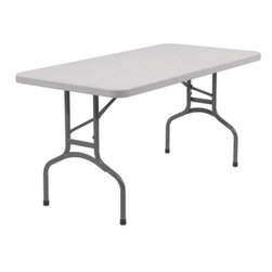 National Public Seating BT Series 96 in. Rectangle Folding Table - White - Whether the party is scheduled for indoors or out, the National Public Seating BT Series 96 in Folding Table gives it great legs to stand on. Complete with quality plastic construction that's underscored with steel support brackets, each of these tables is tested and approved to handle up to 1,000 pounds of weight. Choose your quantity - 10 or 20 tables.Additional information:Gravity slide lock for extra stabilityFolds for easy storage or portabilitySturdy, lightweight constructionPerfect for banquets, conferences, or everyday entertainingGreat for indoor or outdoor useComplete with 5-year warrantyDimensions: 96L x 30W x 30H inchesAbout National Public SeatingNational Public Seating provides seating products of the highest quality grade materials and craftsmanship for educational, religious, hospitality, government, commercial, and other institutional markets. Incorporated in 1997, National Public Seating is based in Clifton, N.J., and offers one of the nation's largest lines of quick-ship, in-stock folding chairs and tables, stack chairs, stools, and dollies. Other product lines include stages, risers, science tables, and mobile cafeteria tables. Their high-quality products are currently in use in tens of thousands of facilities nationwide.Mindful of Our EnvironmentNational Public Seating is committed to preserving the quality of their products and the quality of the environment. To this end, the company manufactures their products with varying percentages of pre- and post-consumer waste (recycled material). All of the steel for their products contains 30-40% of post-consumer waste, and their plastic products contain up to 35% of pre-consumer waste. All of the wood used for their products comes from non-boreal forests. National Public Seating also uses powder-coat finishes instead of liquid finishes in order to prevent pollutants from being released into the atmosphere and to reuse retrieved overspray. All these efforts and more help their employees and customers be mindful of the environment.