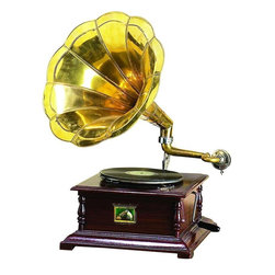 Benzara - Wood Metal Gramophone with Musical Blend - Wood Metal Gramophone is the excellent home decor and table space filler for matching your passion for music with passion of unique decor.
