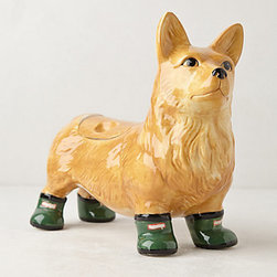 Anthropologie - Pedigreed Cookie Jar, Corgi - Aww, a corgi in Wellies — at least I think those are Wellies. If corgi isn't your breed, Anthropologie also has greyhounds, poodles and bulldogs.