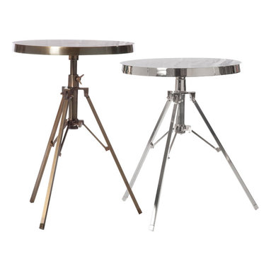 Pfeifer Studio - Tripod Side Table - Have you ever heard the saying that every room needs something old, something new, something fluffy and something shiny? These brass and nickel side tables would certainly take care of the shine department, and would look oh-so-good while doing so.