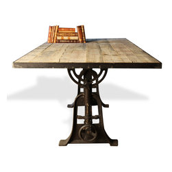 Kathy Kuo Home - Monterrey Industrial Loft Iron Reclaimed Wood Adjustable Dining Table - Add some industrial flair to your dining room or study with this gorgeous table/desk. Made from reclaimed azobe wood and cast iron, this flexible find has an adjustable base. Use it anywhere as a dining table or even a large drafting desk.